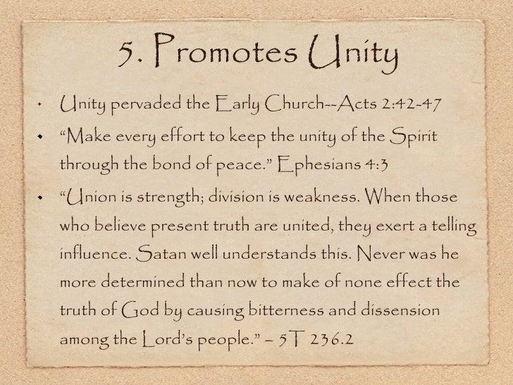 "<ul><li>Unity pervaded the Early Church--Acts 2:42-47 </li></ul><ul><li>"" Make every effort to keep the unity of the Spiri..."