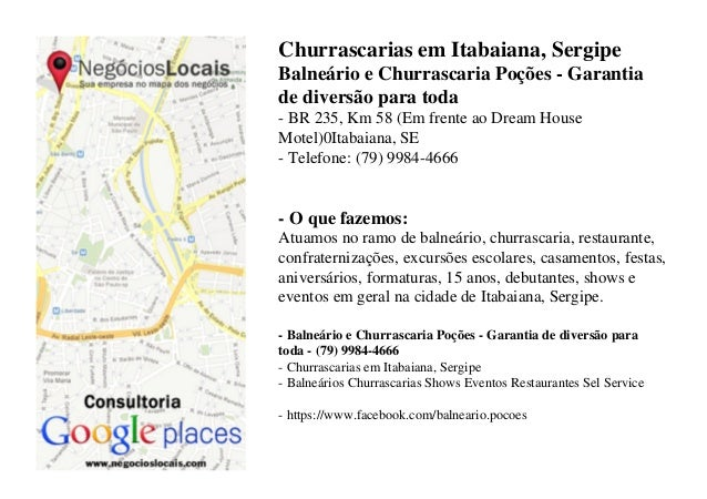Churrascarias em Itabaiana, SergipeBalneário e Churrascaria Poções - Garantiade diversão para toda- BR 235, Km 58 (Em fren...