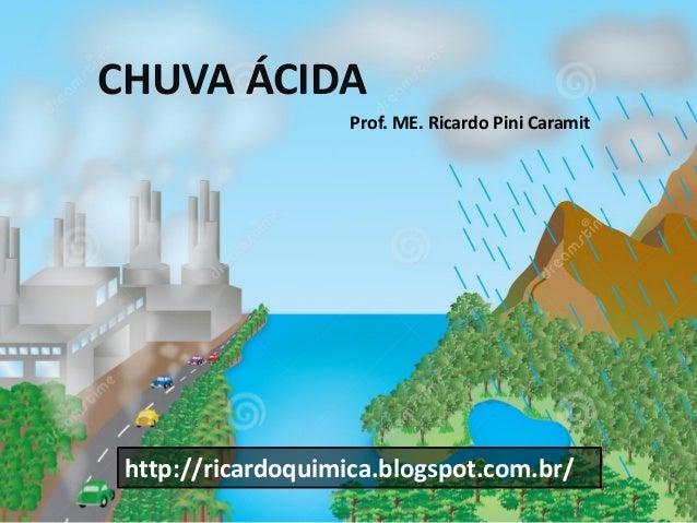 CHUVA ÁCIDA Prof. ME. Ricardo Pini Caramit  http://ricardoquimica.blogspot.com.br/