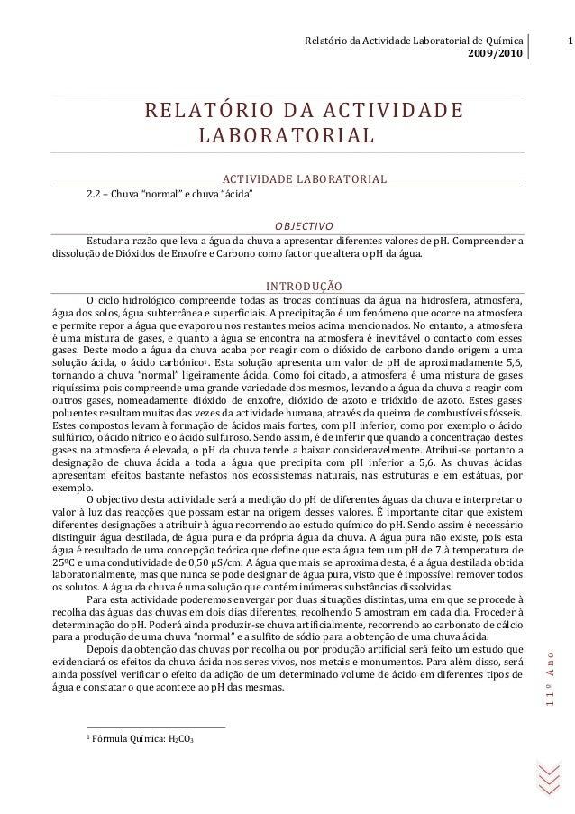 Relatório da Actividade Laboratorial de Química 2009/2010 1 11ºAno RELATÓRIO DA ACTIVIDADE LABORATORIAL ACTIVIDADE LABORAT...