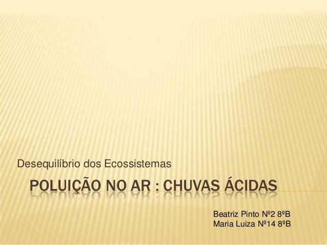 POLUIÇÃO NO AR : CHUVAS ÁCIDAS Desequilíbrio dos Ecossistemas Beatriz Pinto Nº2 8ºB Maria Luiza Nº14 8ºB