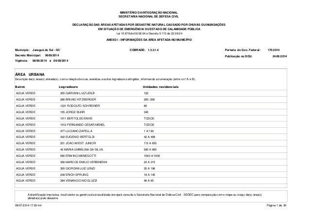 MINISTÉRIO DA INTEGRAÇÃO NACIONAL SECRETARIA NACIONAL DE DEFESA CIVIL DECLARAÇÃO DAS ÁREAS AFETADAS POR DESASTRE NATURAL C...