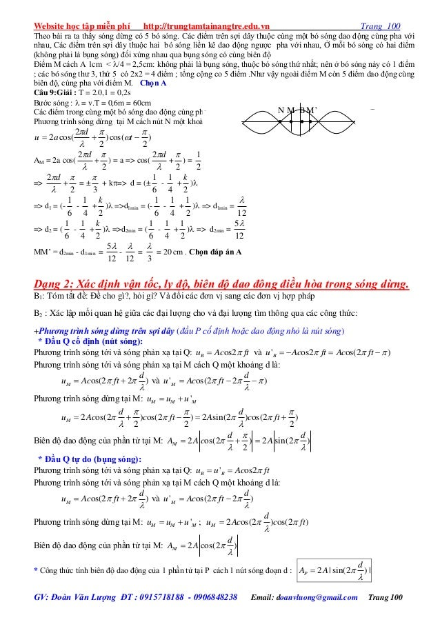 Chuyên đề sóng cơ bài tập và đáp án