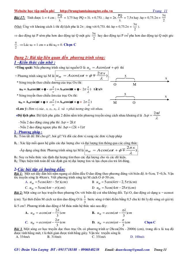 Website học tập miễn phí http://trungtamtainangtre.edu.vn Trang 11 GV: Đoàn Văn Lượng ĐT : 0915718188 - 0906848238 Email: ...
