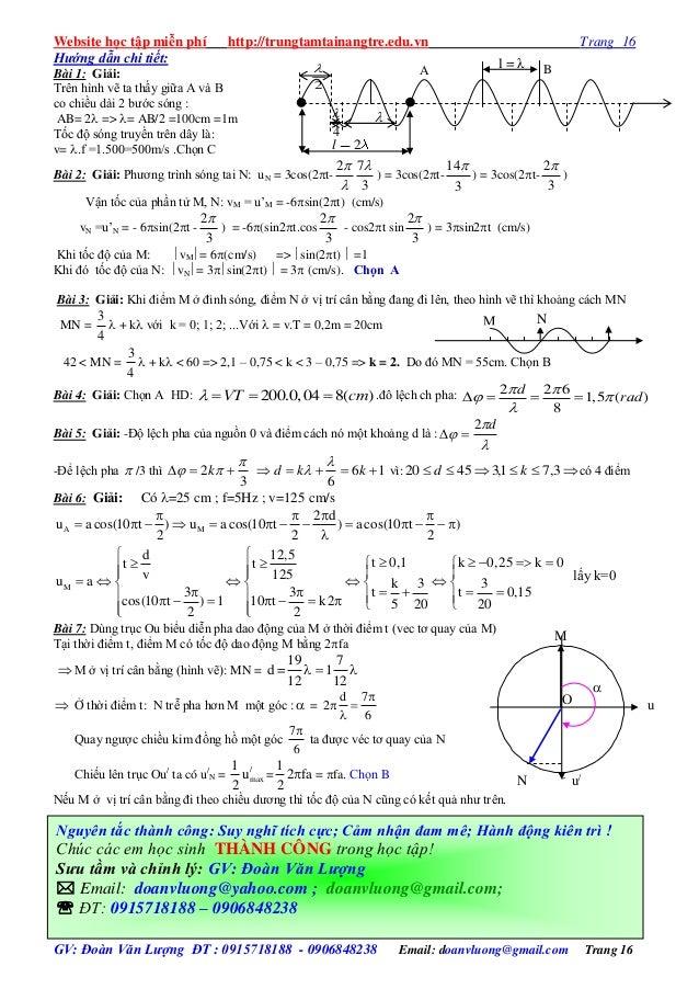Website học tập miễn phí http://trungtamtainangtre.edu.vn Trang 16 GV: Đoàn Văn Lượng ĐT : 0915718188 - 0906848238 Email: ...