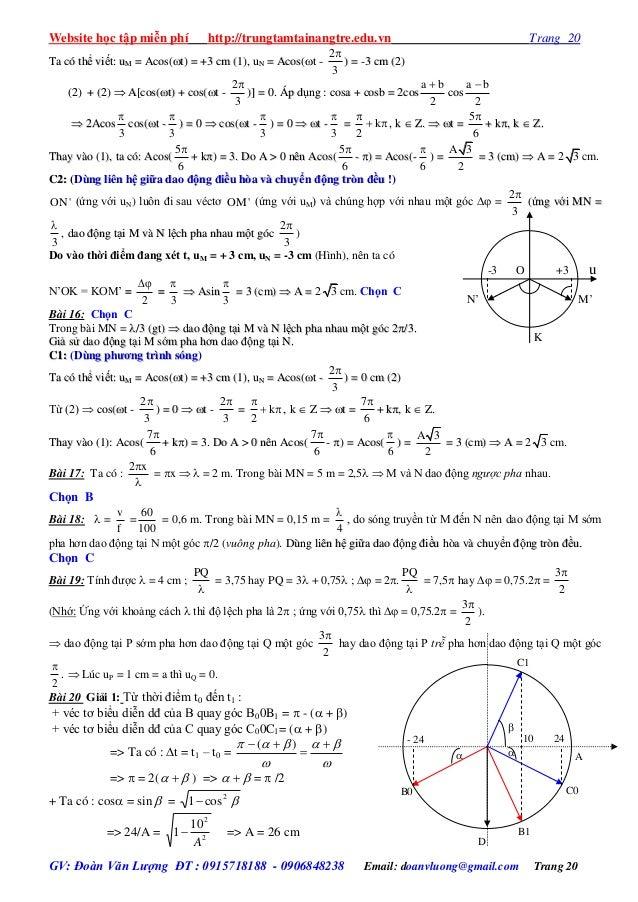 Website học tập miễn phí http://trungtamtainangtre.edu.vn Trang 20 GV: Đoàn Văn Lượng ĐT : 0915718188 - 0906848238 Email: ...