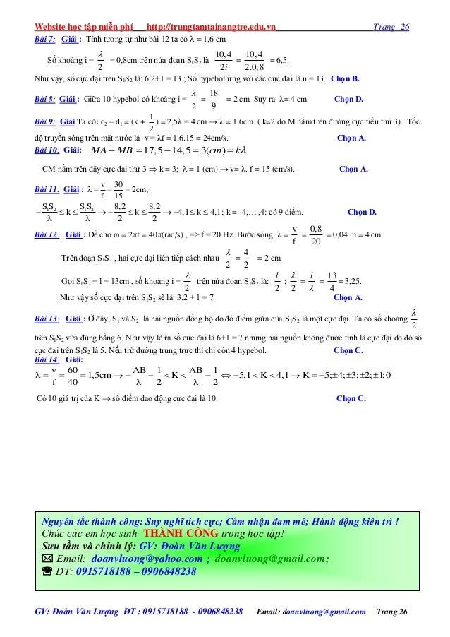Website học tập miễn phí http://trungtamtainangtre.edu.vn Trang 26 GV: Đoàn Văn Lượng ĐT : 0915718188 - 0906848238 Email: ...