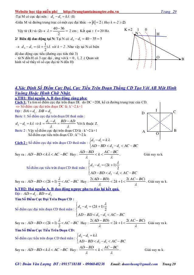 Website học tập miễn phí http://trungtamtainangtre.edu.vn Trang 29 GV: Đoàn Văn Lượng ĐT : 0915718188 - 0906848238 Email: ...