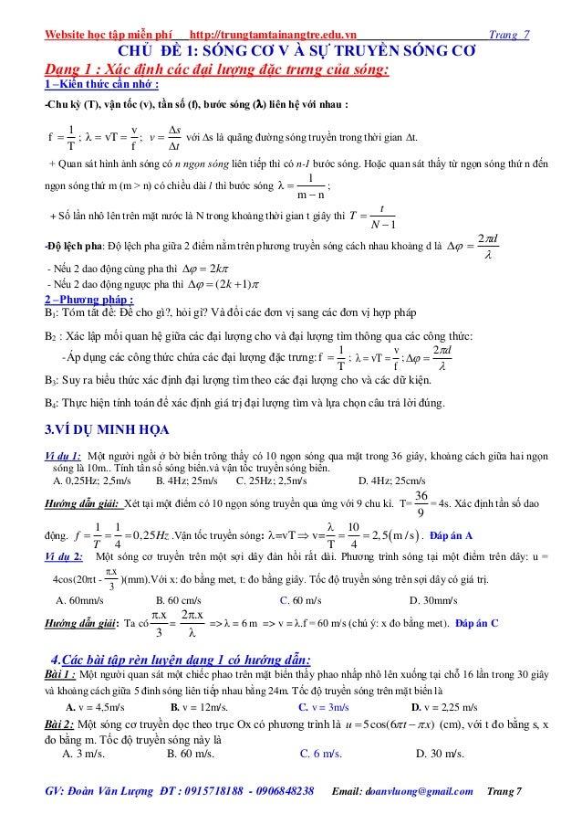 Website học tập miễn phí http://trungtamtainangtre.edu.vn Trang 7 GV: Đoàn Văn Lượng ĐT : 0915718188 - 0906848238 Email: d...