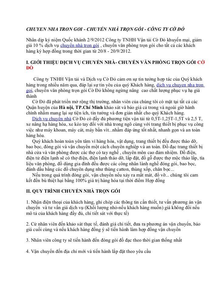 CHUYEN NHA TRON GOI - CHUYỂN NHÀ TRỌN GÓI - CÔNG TY CỜ ĐỎNhân dịp kỷ niệm Quốc khánh 2/9/2012 Công ty TNHH Vận tải Cờ Đỏ k...
