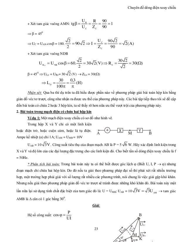 Chuyên đề dòng điện xoay chiều 23 + Xét tam giác vuông AMN: 1 90 90 Z R U U tg CC R    = 450  UC = UAN.cos = 180....