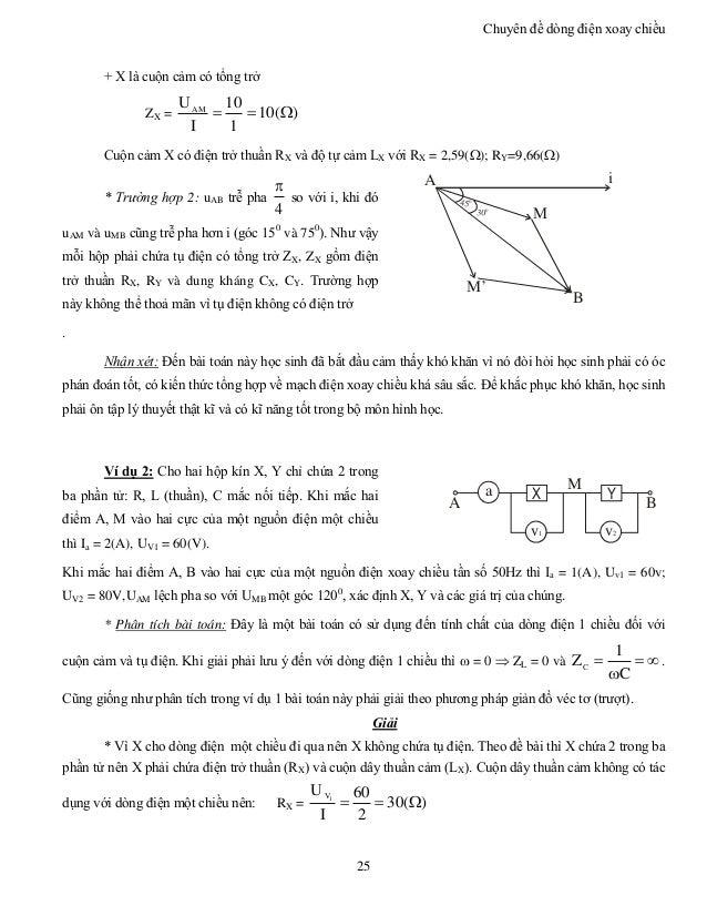 Chuyên đề dòng điện xoay chiều 25 + X là cuộn cảm có tổng trở ZX = )(10 1 10 I UAM  Cuộn cảm X có điện trở thuần RX và ...