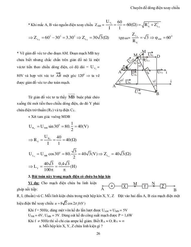 Chuyên đề dòng điện xoay chiều 26 * Khi mắc A, B vào nguồn điện xoay chiều ZAM = 2 L 2 X V X 1 ZR)(60 1 60 I U  )(330...