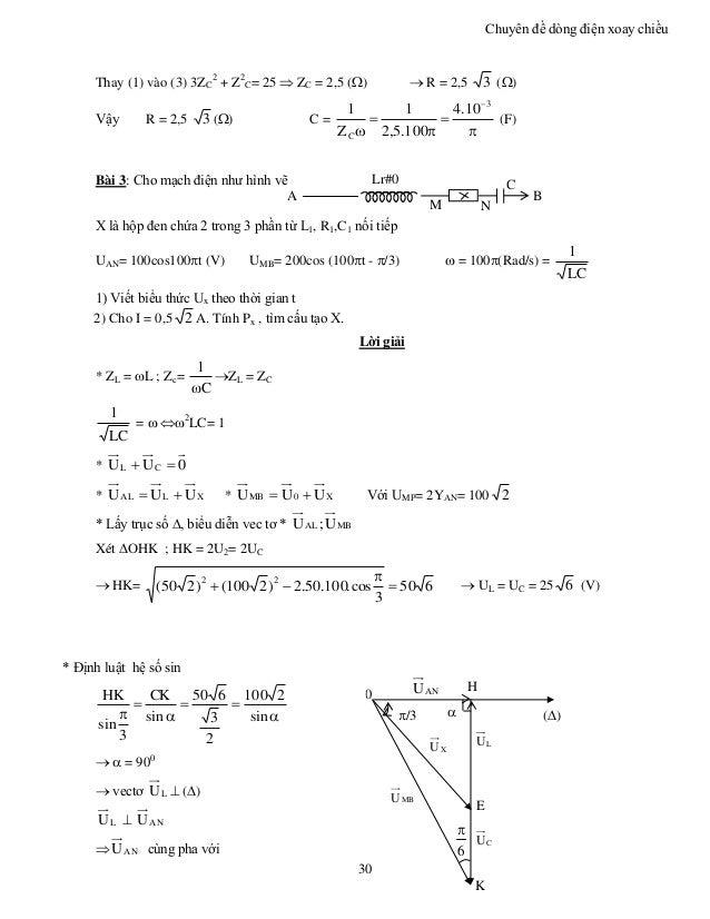 Chuyên đề dòng điện xoay chiều 30 Thay (1) vào (3) 3ZC 2 + Z2 C= 25  ZC = 2,5 ()  R = 2,5 3 () Vậy R = 2,5 3 () C = ...