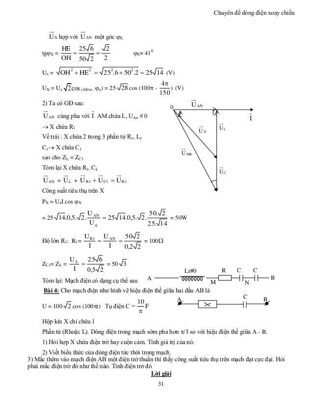 Chuyên đề dòng điện xoay chiều 31 XU hợp với ANU một góc X tgX = 2 2 250 625 OH HE  X 410 Ux = 14252.506.25HEOH 2222...