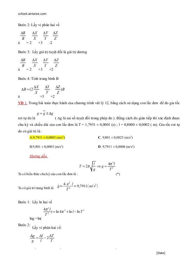 school.antoree.com Bước 2: Lấy vi phân hai vế à B B∆ = 2 X X∆ +3 Y Y∆ -2 Z Z∆ Bước 3: Lấy giá trị tuyệt đối là giá trị dươ...