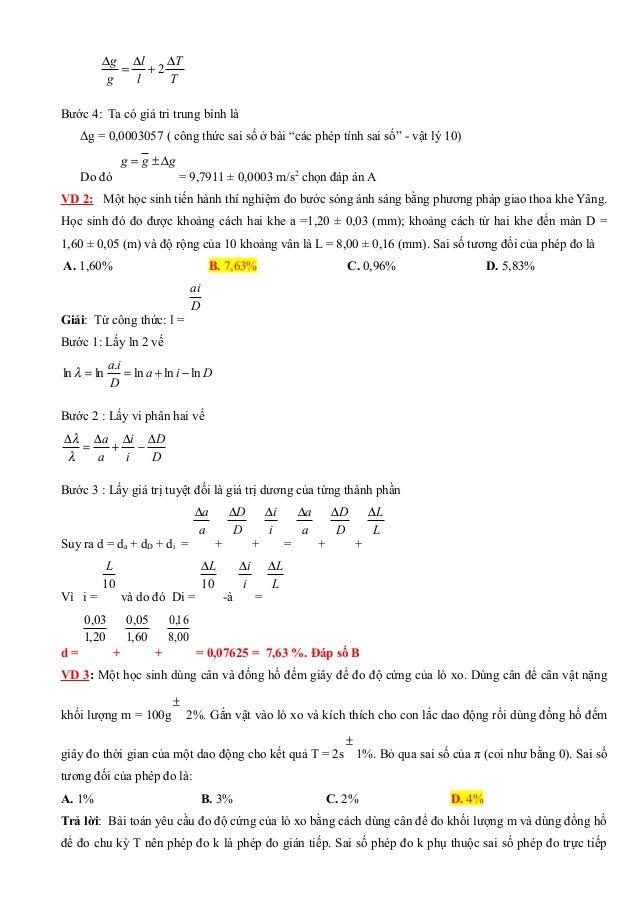 """T T l l g g ∆ + ∆ = ∆ 2 Bước 4: Ta có giá tri trung bình là Δg = 0,0003057 ( công thức sai số ở bài """"các phép tính sai số""""..."""
