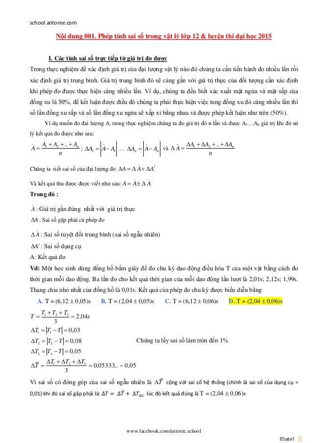 school.antoree.com www.facebook.com/antoree.school [Date] Nội dung 001. Phép tính sai số trong vật lý lớp 12 & luyện thi đ...