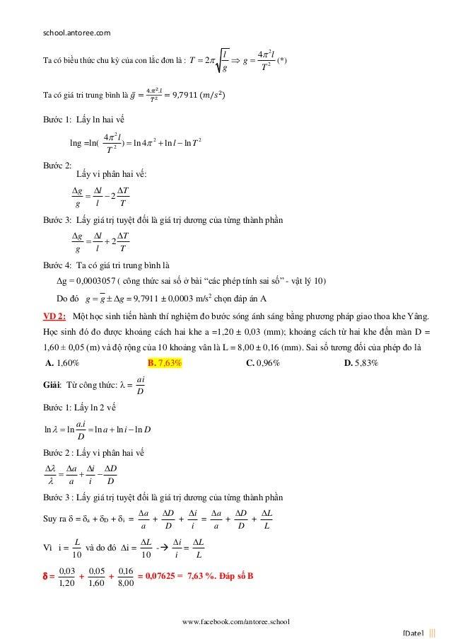 school.antoree.com www.facebook.com/antoree.school [Date] Ta có biều thức chu kỳ của con lắc đơn là : 2 2 4 2 l l T g g T ...