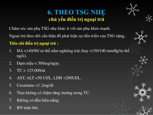 • XN: Bilan TSG??? • Đạm niệu / 24 giờ, clearance creatinine, creatinine, a uric, Hct, Albumin, tiểu cầu. • AST, ALT. • LD...