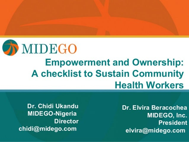 Title Page       Empowerment and Ownership:    A checklist to Sustain Community                       Health Workers   Dr....