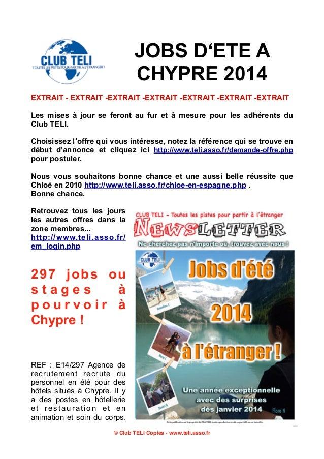 JOBS D'ETE A CHYPRE 2014 EXTRAIT - EXTRAIT -EXTRAIT -EXTRAIT -EXTRAIT -EXTRAIT -EXTRAIT Les mises à jour se feront au fur ...