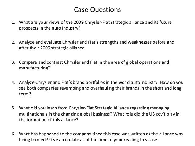 chrysler fiat case study Fiat spa: case study fiat spa compared with fiat-chrysler will be listed in the us stock exchange under the same brand in order to obtain cash to support the.