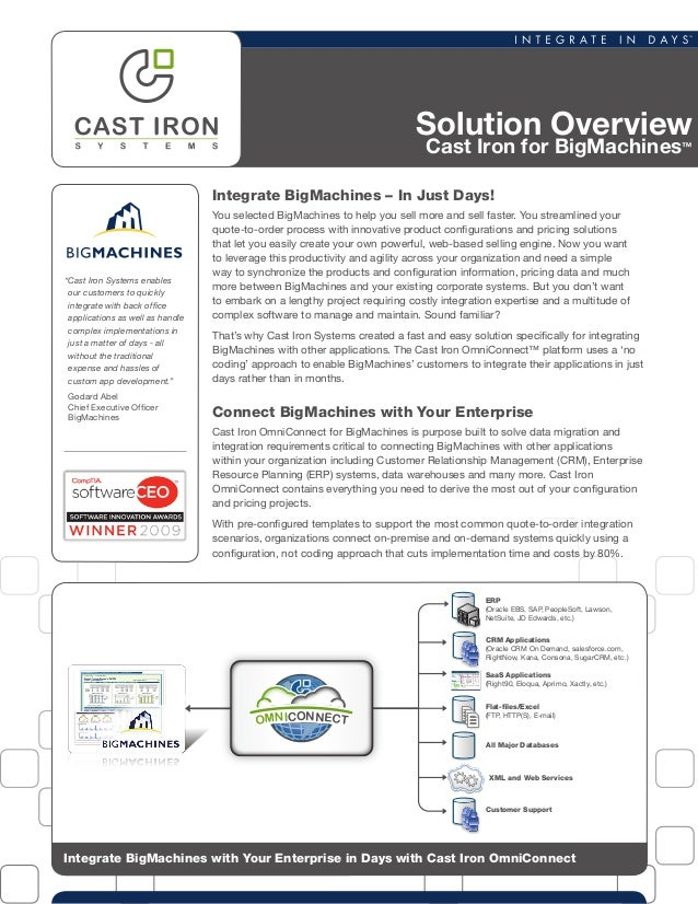 Solution OverviewCast Iron for BigMachines™Integrate BigMachines with Your Enterprise in Days with Cast Iron OmniConnectSa...