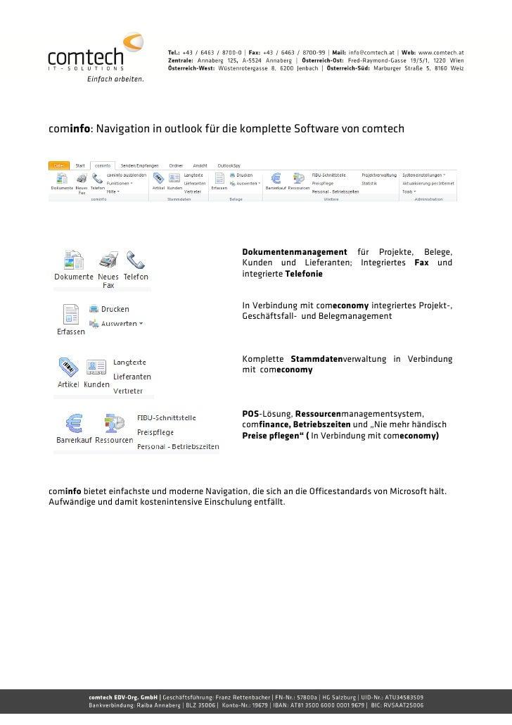 cominfo: Navigation in outlook für die komplette Software von comtech                                                 Doku...