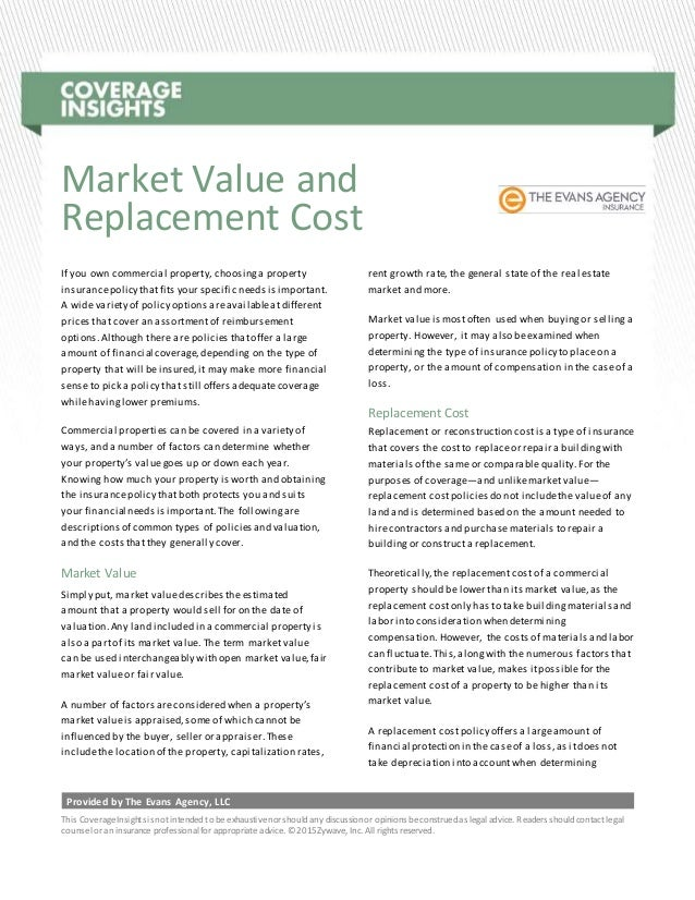 Replacement cost valuation insurance