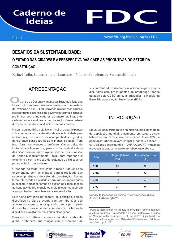 CI1111      Gestão estratéGica do suprimento e o impacto no      desempenho das       empresas BrasileirasdesaFios da sust...