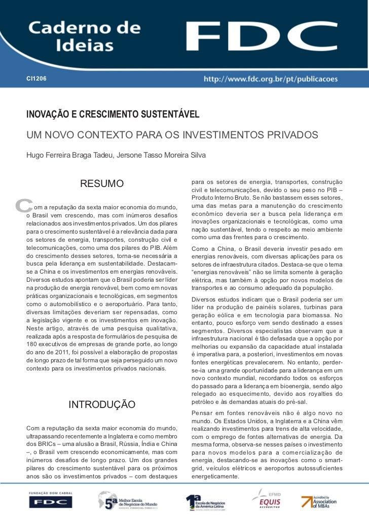 CI1206      Gestão Estratégica do Suprimento e o Impacto no      Desempenho das       Empresas BrasileirasInovação e Cresc...