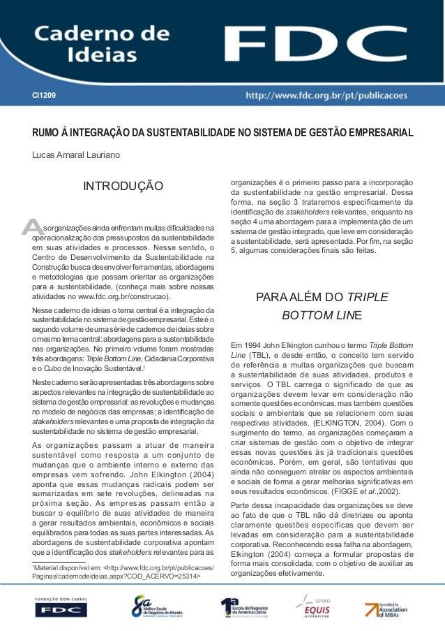 Gestão Estratégica do Suprimento e o Impacto no Desempenho das Empresas Brasileiras  CI1209  Rumo à integração da sustenta...