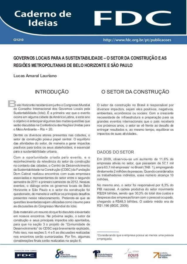 Gestão Estratégica do Suprimento e o Impacto no Desempenho das Empresas Brasileiras  CI1210  Governos locais para a susten...