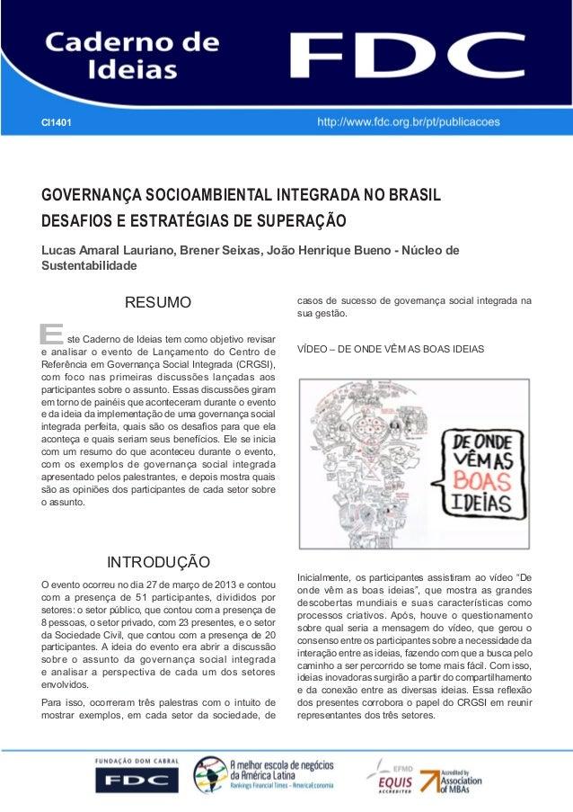 GESTÃO ESTRATÉGICA DO SUPRIMENTO E O IMPACTO NO DESEMPENHO DAS EMPRESAS BRASILEIRAS GOVERNANÇA SOCIOAMBIENTAL INTEGRADA NO...