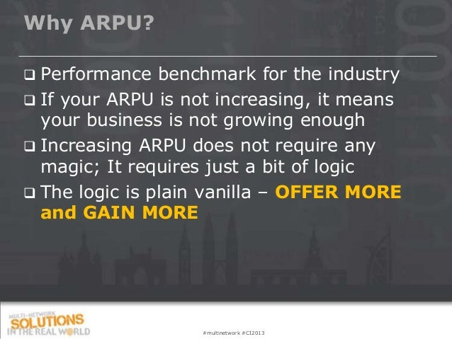 Why ARPU? Performance benchmark for the industry If your ARPU is not increasing, it means  your business is not growing ...