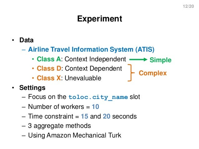 12/20 Experiment • Data – Airline Travel Information System (ATIS) • Class A: Context Independent • Class D: Context Depen...