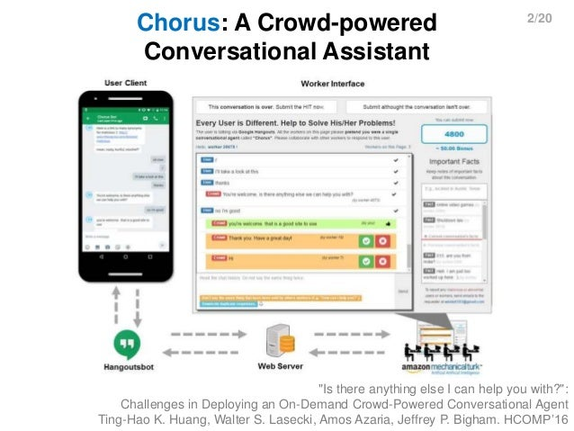 """2/20 Chorus: A Crowd-powered Conversational Assistant """"Is there anything else I can help you with?"""": Challenges in Deployi..."""