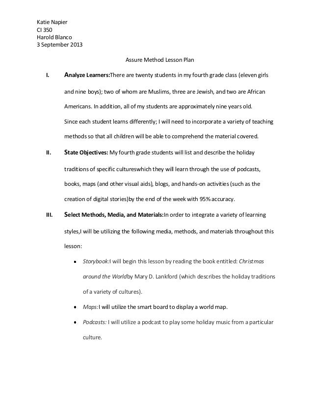 Katie Napier CI 350 Harold Blanco 3 September 2013 Assure Method Lesson Plan I.  Analyze Learners:There are twenty student...