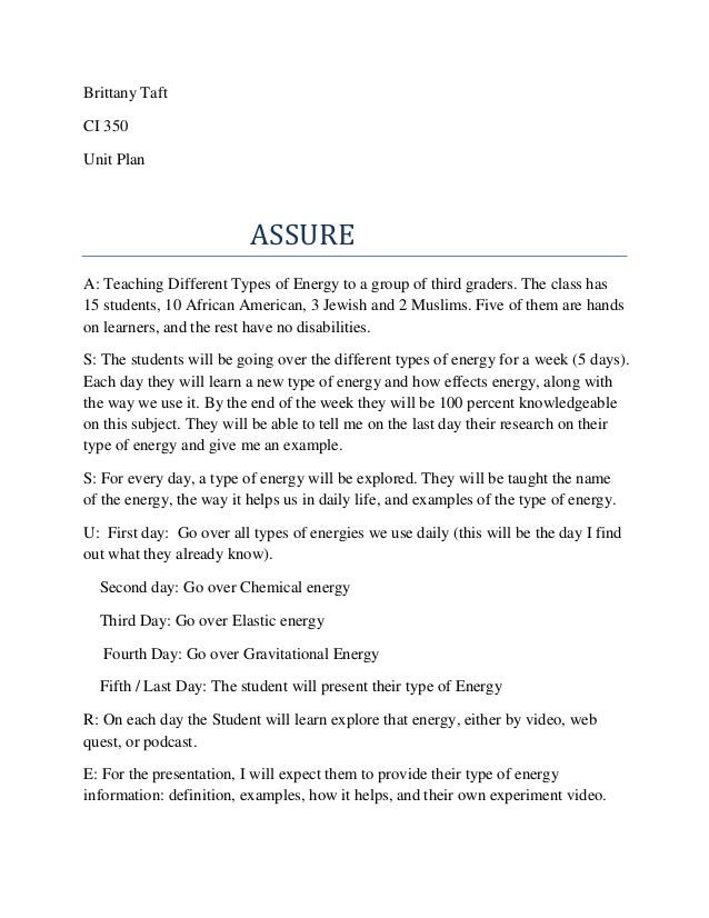 Brittany Taft CI 350 Unit Plan  ASSURE A: Teaching Different Types of Energy to a group of third graders. The class has 15...