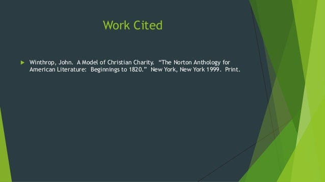 Compose Analytical Paper 6 Work Cited Winthrop John A Model Of Christian Charity