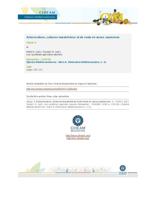 CIHEAM - Options Mediterraneennes         Arboriculture, cultures maraîchères et de rente                       en zones o...