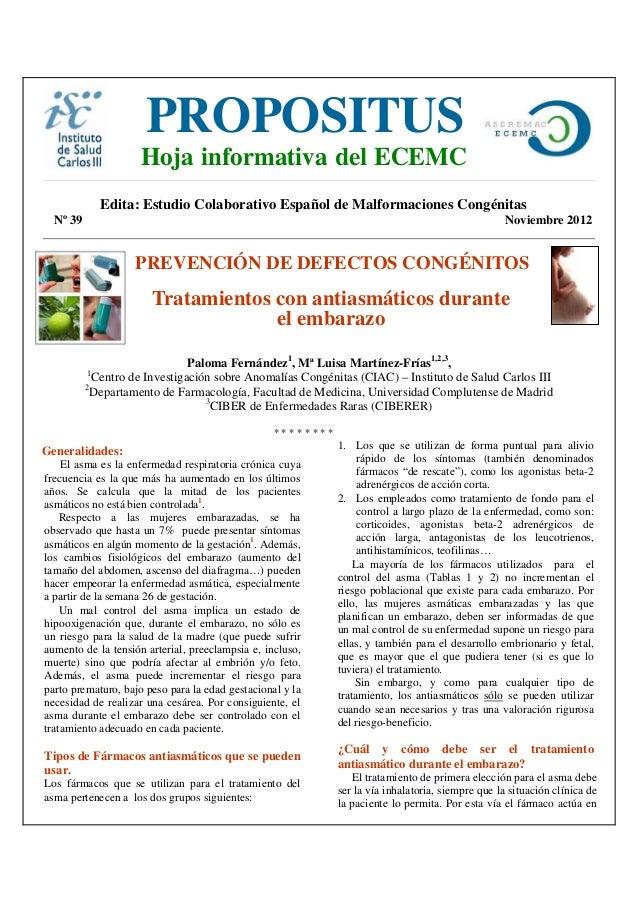PROPOSITUSe                      Hoja informativa del ECEMC                Edita: Estudio Colaborativo Español de Malforma...