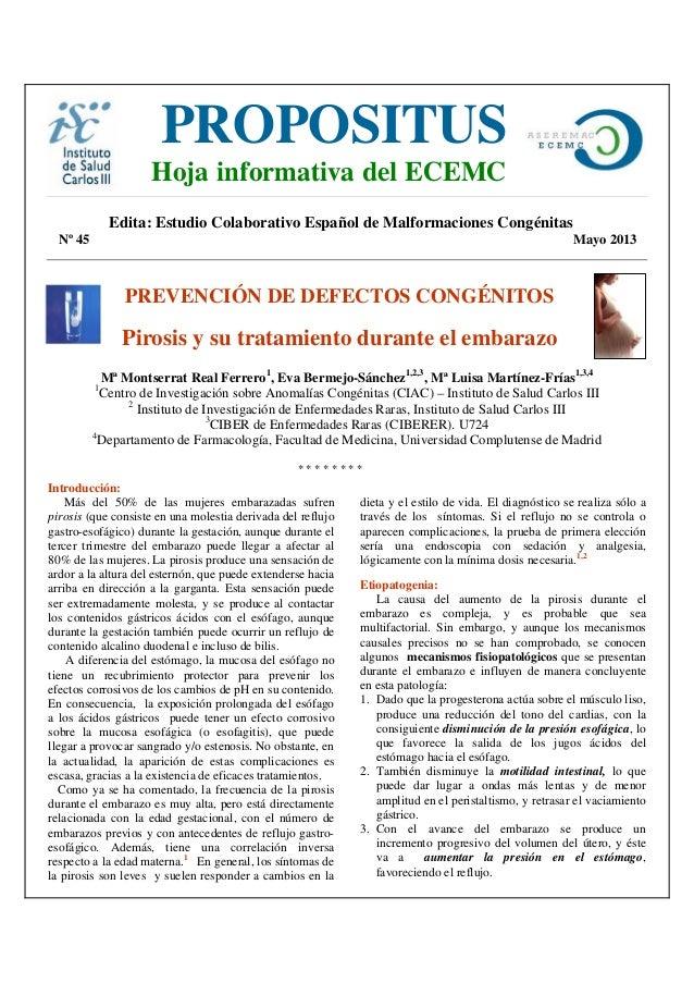 Edita: Estudio Colaborativo Español de Malformaciones CongénitasNº 45 Mayo 2013PREVENCIÓN DE DEFECTOS CONGÉNITOSPirosis y ...