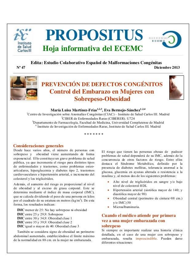 PROPOSITUS  Hoja informativa del ECEMC  Edita: Estudio Colaborativo Español de Malformaciones Congénitas Nº 47  Diciembre ...