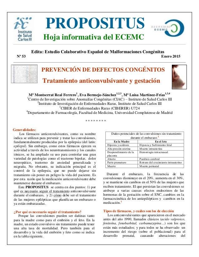 Edita: Estudio Colaborativo Español de Malformaciones Congénitas Nº 53 Enero 2015 PREVENCIÓN DE DEFECTOS CONGÉNITOS Tratam...