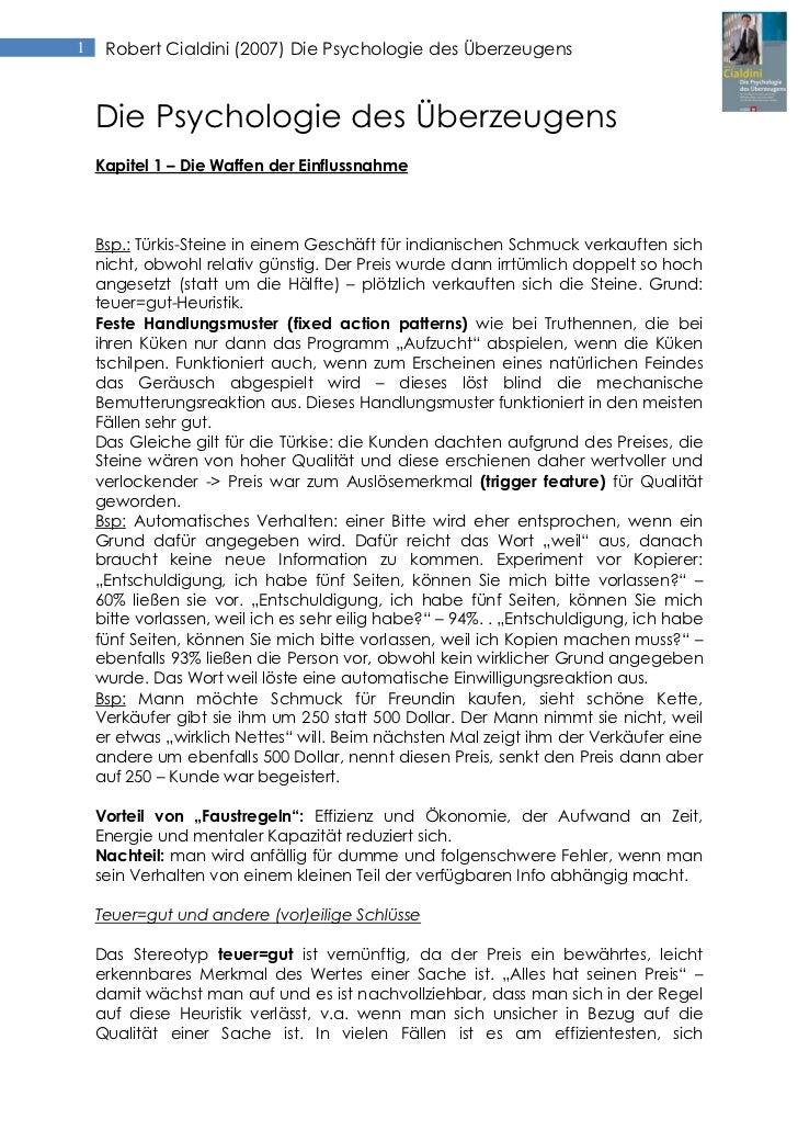 1    Robert Cialdini (2007) Die Psychologie des Überzeugens    Die Psychologie des Überzeugens    Kapitel 1 – Die Waffen d...
