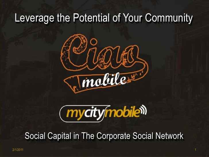 Leverage the Potential of Your Community<br />Leverage the Potential of Your Community<br />Social Capital in The Corporat...