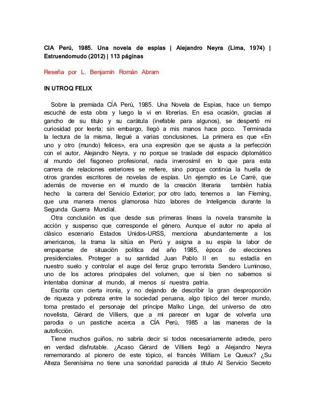 CIA Perú, 1985. Una novela de espías | Alejandro Neyra (Lima, 1974) | Estruendomudo (2012) | 113 páginas Reseña por L. Ben...