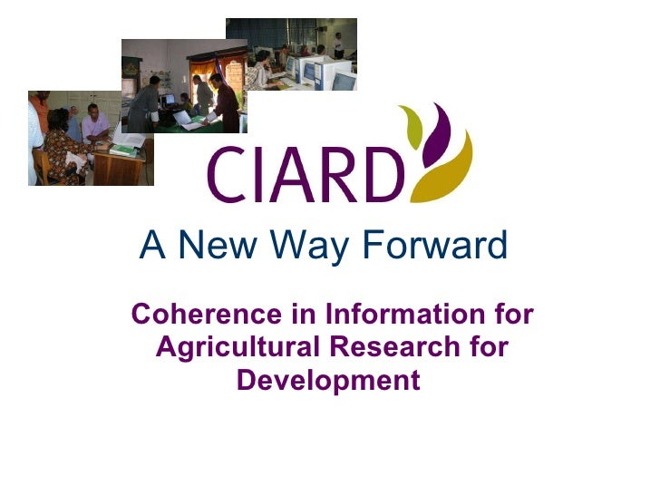 A New Way Forward   Coherence in Information for Agricultural Research for Development